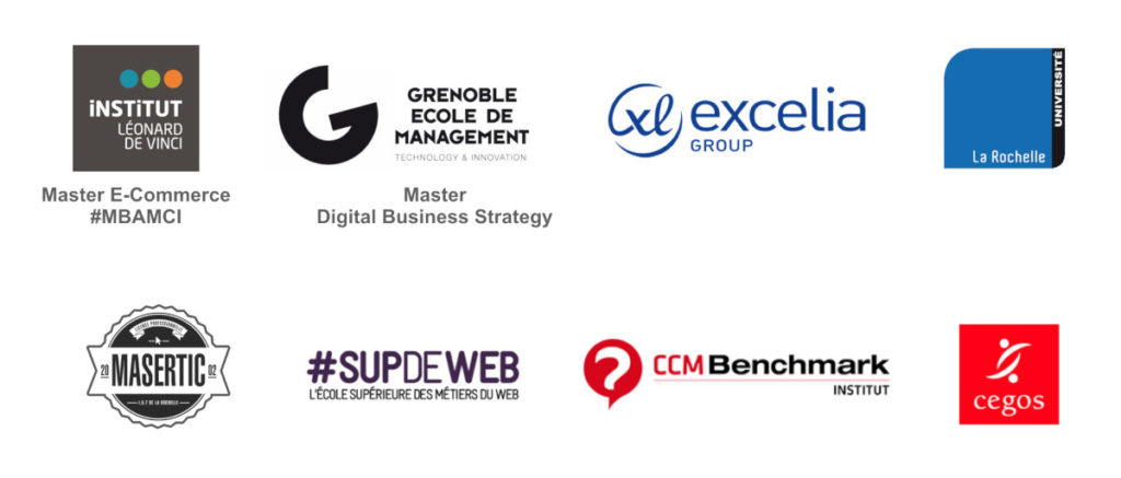 Références grandes écoles et formation : Grenoble École de Management - International Master / Digital Business Strategy, MBAMCI E-Commerce Institut Léonard de Vinci, Supdeweb, Excelia, Entrepreuneuriat digital Niort, IUT La Rochelle, Université La Rochelle, Licence professionnelle Masertic e-commerce